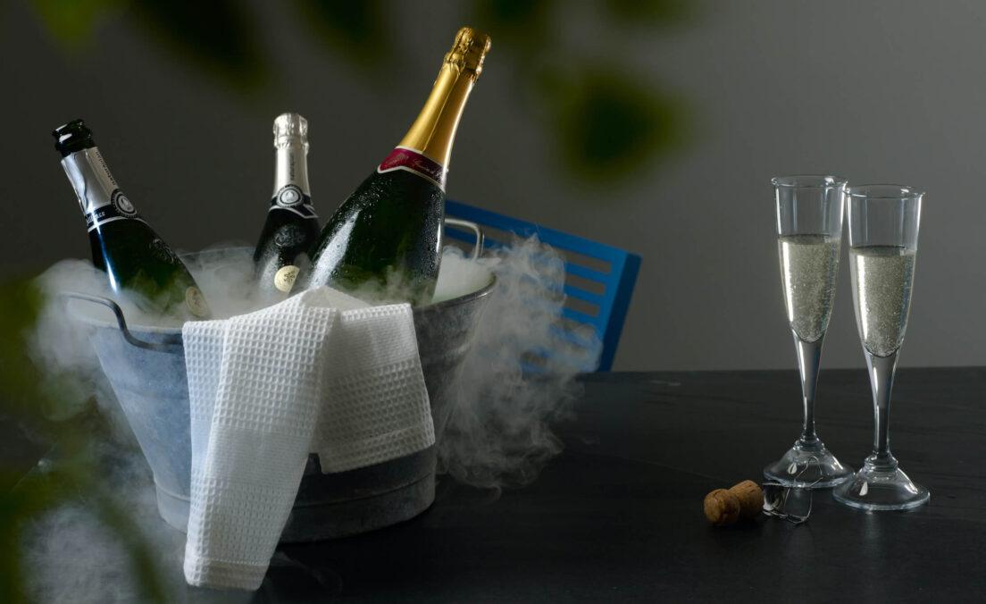 Champagner gekühlt polarjet trockeneis